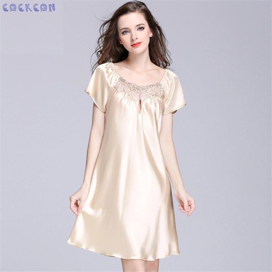 d1211bb69e COCKCON women s sexy sleepwear nightdress fashion silk satin mini nightgown  spaghetti suits SQ022