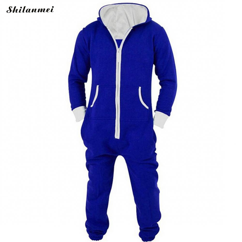 Casual Tracksuit Jumpsuit Mens Overalls Long Sleeve Sweatshirt Hoodies Casual Long Pants Romper For Male Overalls