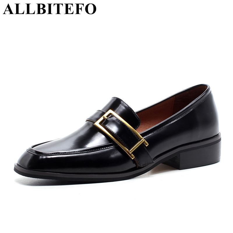 ALLBITEFO full genuine leather square toe thick heel women pumps women high heel shoes metal charm