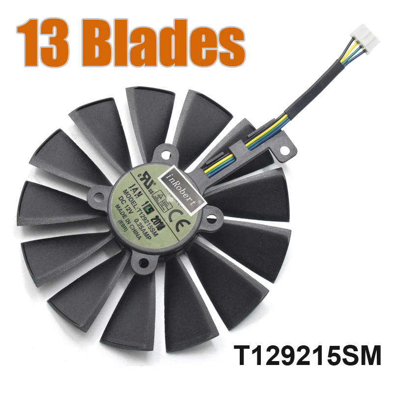 13 Blades T129215SM 4PIN 12V 0.25AMP 95mm Cooler Fan For GTX1070TI Dual RX580 4G/8G GTX1080TI P11G Gaming Card Cooling Fan