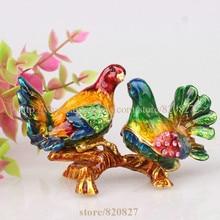 Купить с кэшбэком Pewter Bird Figurine Home Zoo Decoration Collect Crystal Birds Souvenir Magnet Trinket Box Bird Miniature Keepsake, Jewelry Box