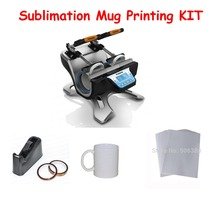 Double Station Mug Press Machine + 2pcs Mugs + 2rolls Heat Tape + 1pc Desktop Tape Dispenser+100sheets Sublimation Paper