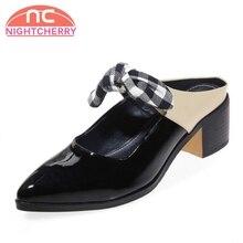 33a796eab7 NIGHTCHERRY Mulheres Do Vintage de Couro Real Salto Alto Sandálias Bowtie  Patchwork Sapatos de Verão Chinelo Calçados Femininos .