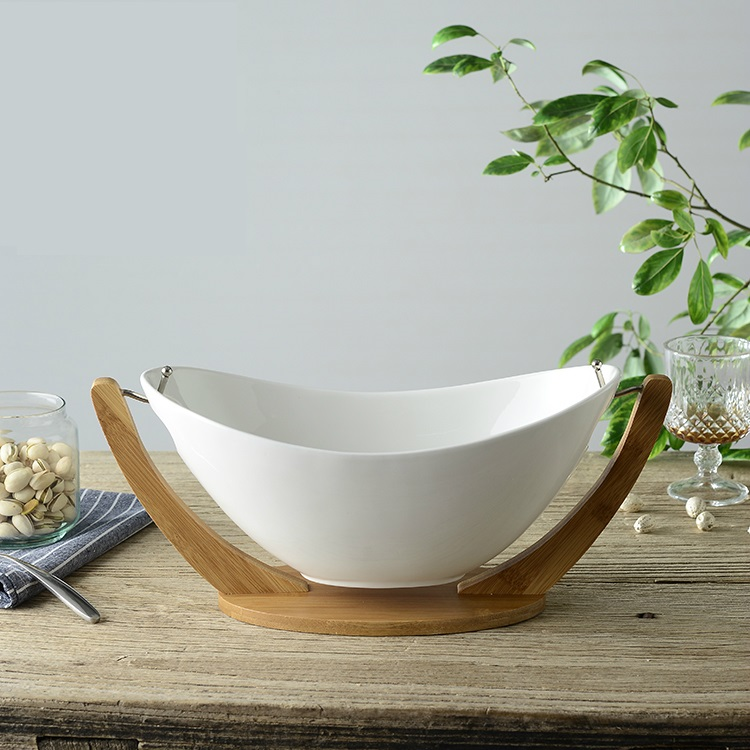 Hanging Ceramics and Bamboo Salad Bowl with Stand Decorative Porcelain Household Cradle Fruit Tray with Spoon Tableware Ornament