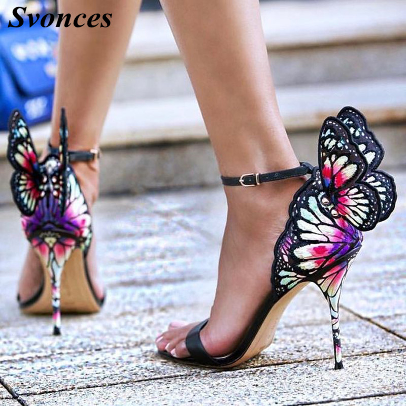 New Color Print Embroidered Butterfly Sandals Wings Pumps