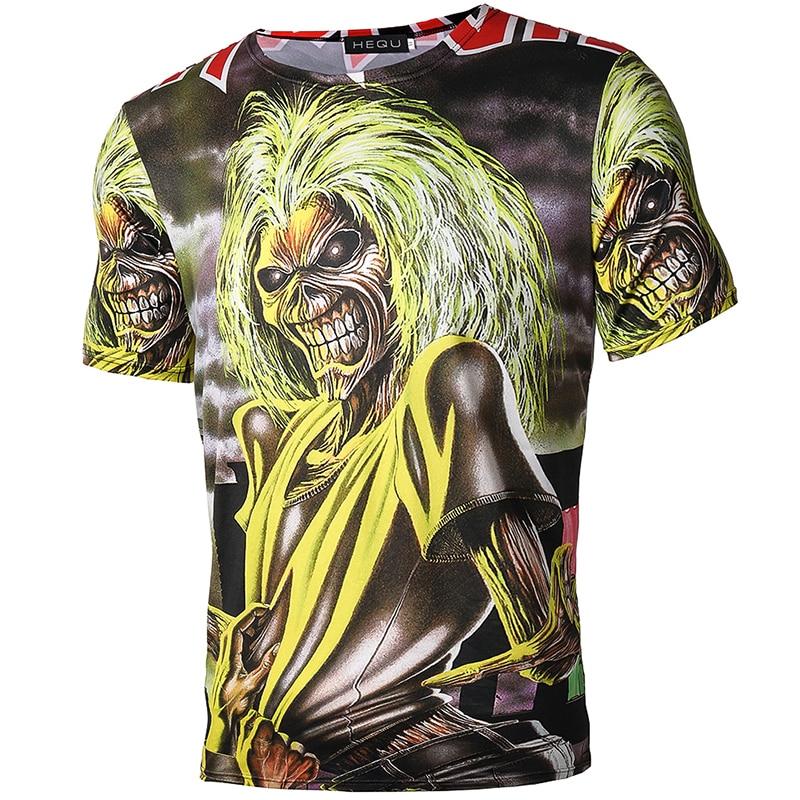 Heren T-shirt Zwart T-shirt Katoen Schedel Print Hiphop Punk Rock - Herenkleding