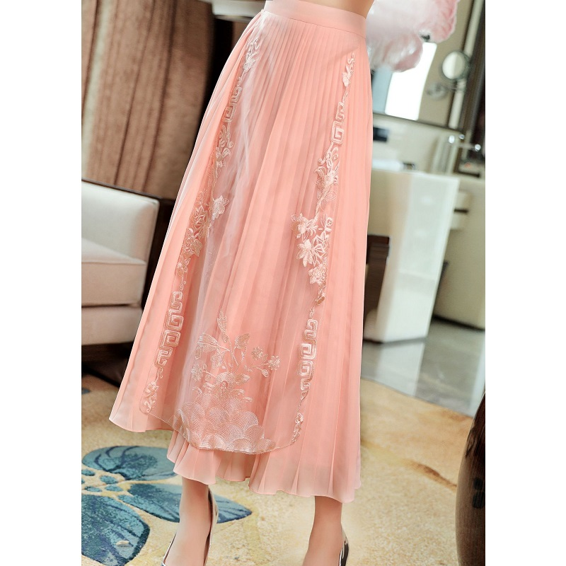 Высокое качество юбки 2019 Весна Лето Мода белый розовый юбка женская люрекс вышивка по щиколотку винтажные юбки плюс размер - 5
