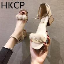HKCP 2019 new high-heeled stiletto sandals for women Korean version versatile summer plush peep-toe C243