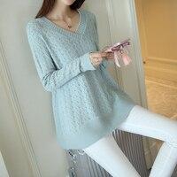 נשים V צוואר סוודר סרוג סוודרים רחב מימדים Jumper Loose סריגי מעצב קוריאני אופנה הארוך ג 'רזי מעיל נקבה מקרית