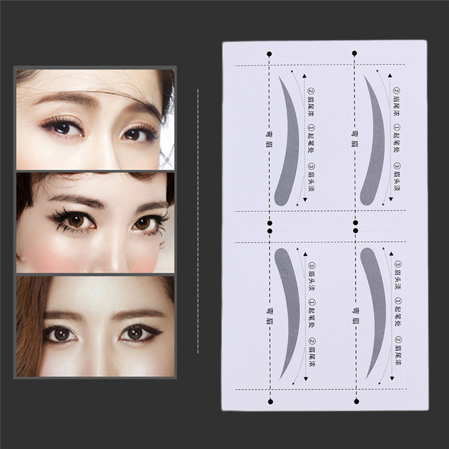 8 Pairs DIY Make Up Tools Grooming Shaping Bend Eyebrow Template Stickers