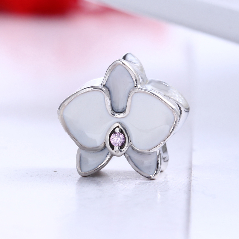 Summer 100% 925 Sterling Silver Orchid White Flower Charm Fit Original Pandora Bracelet DIY Charms Beads for Jewelry Making