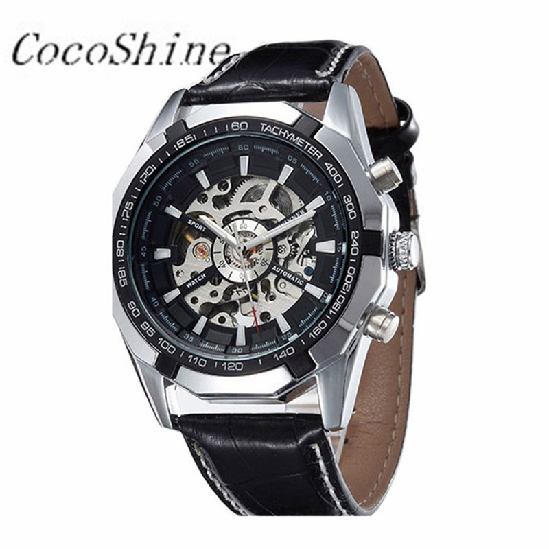 CocoShine A-693  Luxury Automatic Mechanical Watch Men Hollow Retro Machinery Present Steel Table wholesale Free shipping multicolored led auto wheels light 2 set