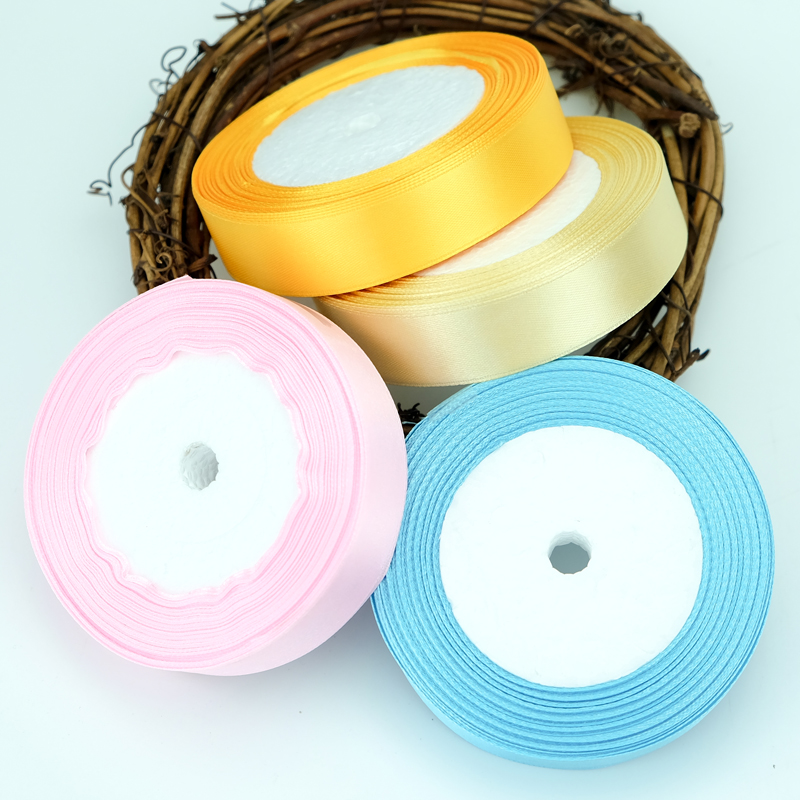 25mm 28 colors pretty silk satin ribbon 22m wedding party decoration invitation card gift wrapping scrapbooking