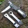 Multifunctional Camping Tool Tableware Spoon Fork Stainless Steel Knife Folding Life Saving Tool Survival Knife Free