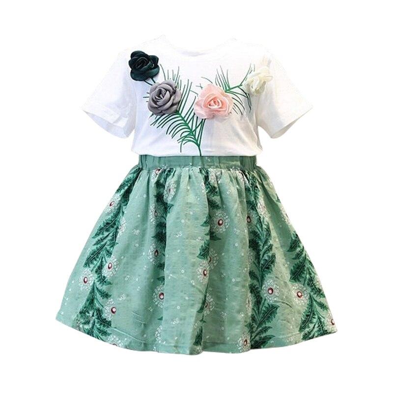 2019 летний хлопковый комплект для девочек, Трикотажная хлопковая Футболка с цветочным принтом + юбка белого и зеленого цвета для детей 2-6 лет