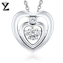 YL 100% 925 Sterling Silver Heart Necklace with Dancing Natural Topaz Necklace Accessories for Women Wedding Fine Jewelry