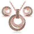 Conjuntos de jóias traje parure bijoux conjunto vintage Rose banhado a Ouro moda clássico conjunto de cristal colar brinco para as mulheres menina
