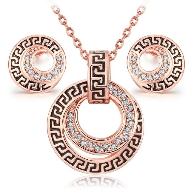 Parure costume parures bijoux ensemble vintage Rose D or couleur de mode  classique collier en 172025e1dae