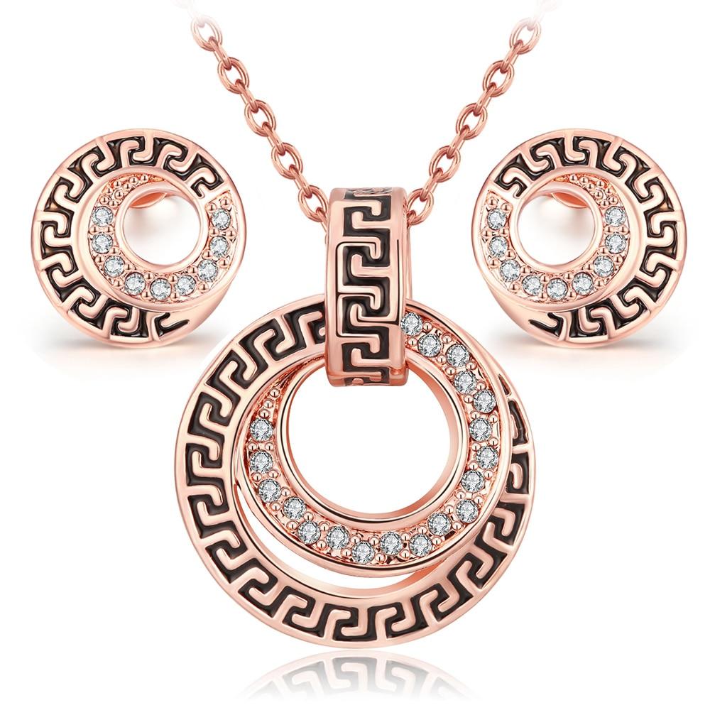 parure costume jewelry sets bijoux ensemble vintage Rose Gold color