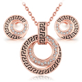 parure costume jewelry sets bijoux ensemble vintage Rose Gold plated fashion classic crystal necklace earring set for women girl
