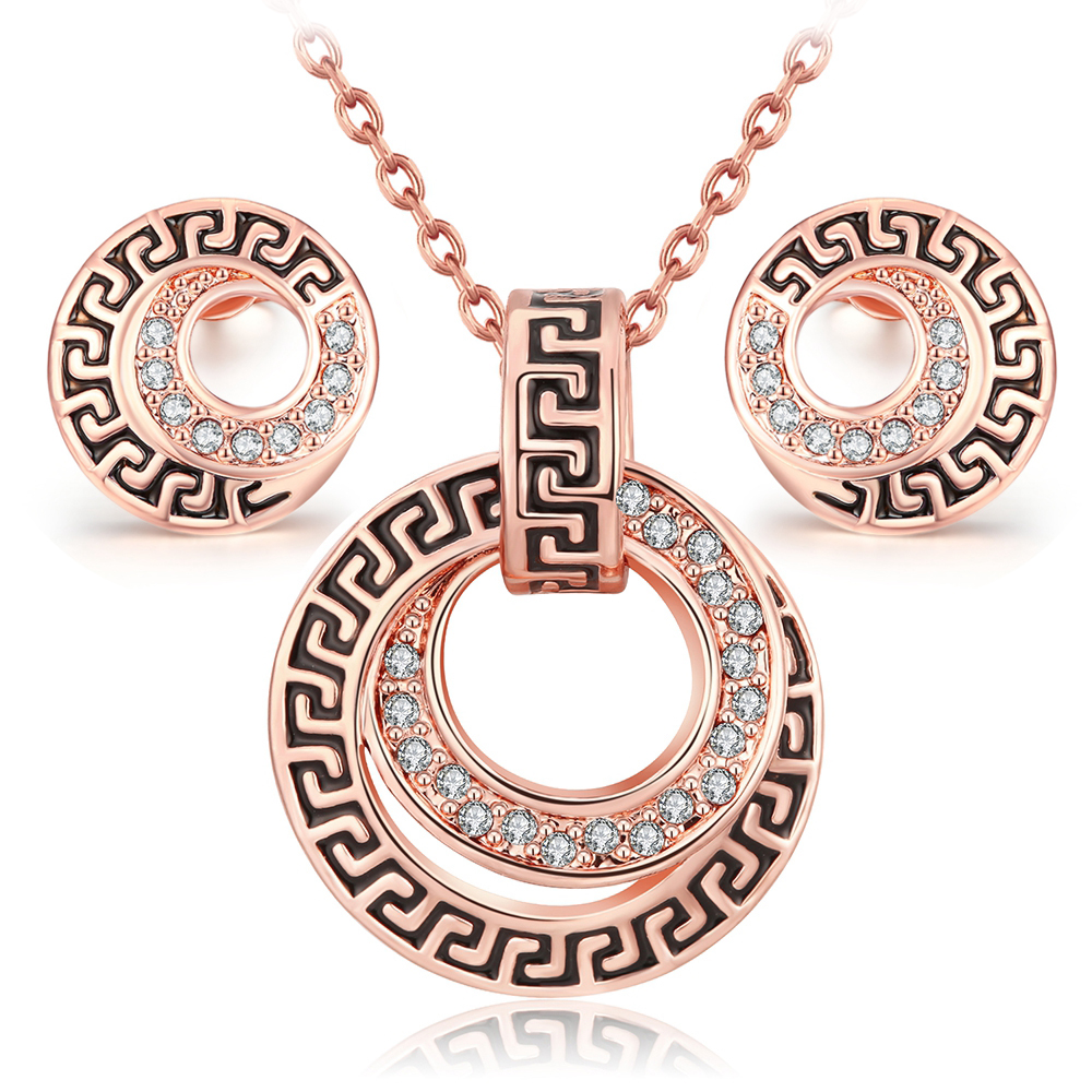Parure Costume Jewelry Sets Bijoux Ensemble Vintage Rose Gold Plated Fashion  Classic Crystal Necklace Earring Set