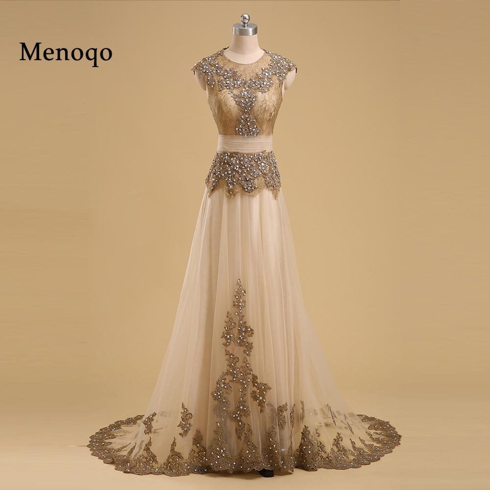 Elegant Arabic Long Evening Dresses Cap Sleeve Abaya Dubai Kaftan Beaded Applique Lace Prom Gowns Robe De Soiree 02191W
