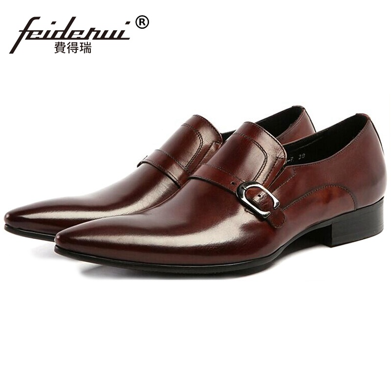 Fashion Italian Designer Dress Shoes Formal Brand Genuine Leather Cow Loafers Men's Pointed Slip on Handmade Flats For Male DF21 clax men shoes luxury brand loafers genuine leather male driving shoes slip on black dress shoe moccasin designer classical