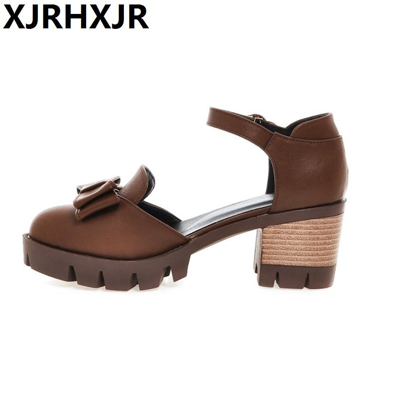 2017 New Summer Women Sandal Platform Thick Chunky High Heel Ankle Strap Pumps Round Toe Sweet Bow Heeled Shoes Big Size summer causal open toe buckle high heeled thick waterproof platform sandals for women