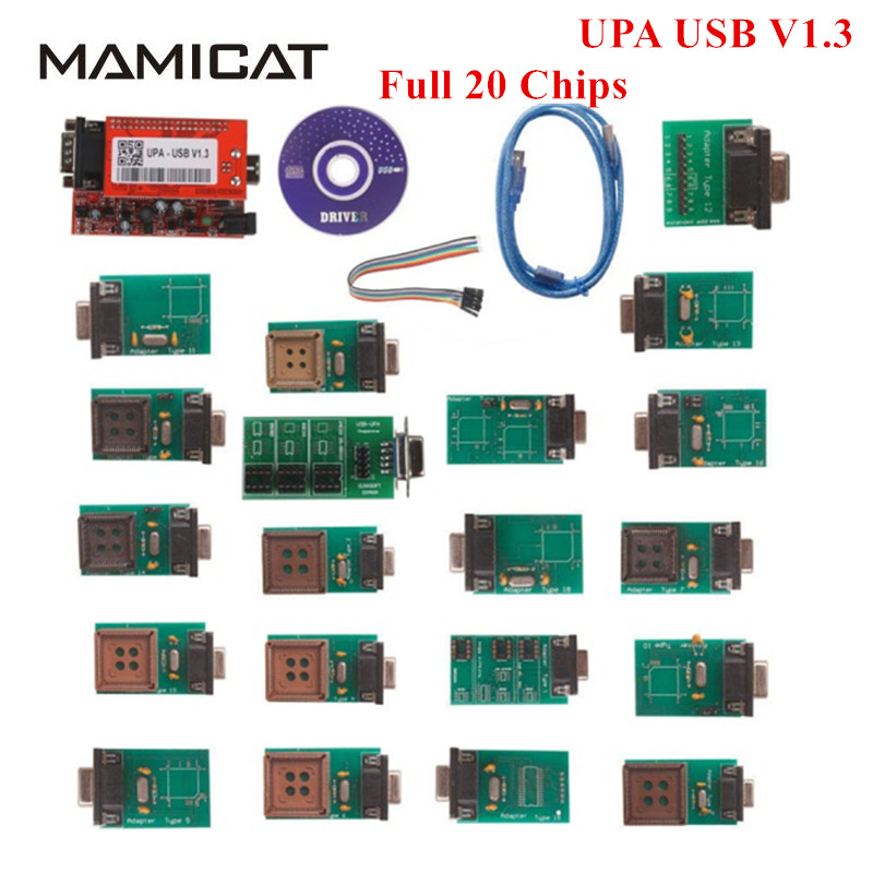 New Full Chip With 20 Adapters UPA USB V1.3 Programmer UPA-USB V1.3 Software ECU Chip Tuning Tool Full Set 20 Chips NEC Function the best quality update version super upa usb programmer with full adapters hot selling