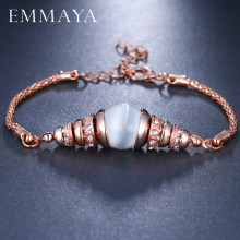EMMAYA Rose Gold Color Women Bracelets Clear CZ Crystal Bangle Opal Bracelets pulseira feminina Fashion Jewerly(China)