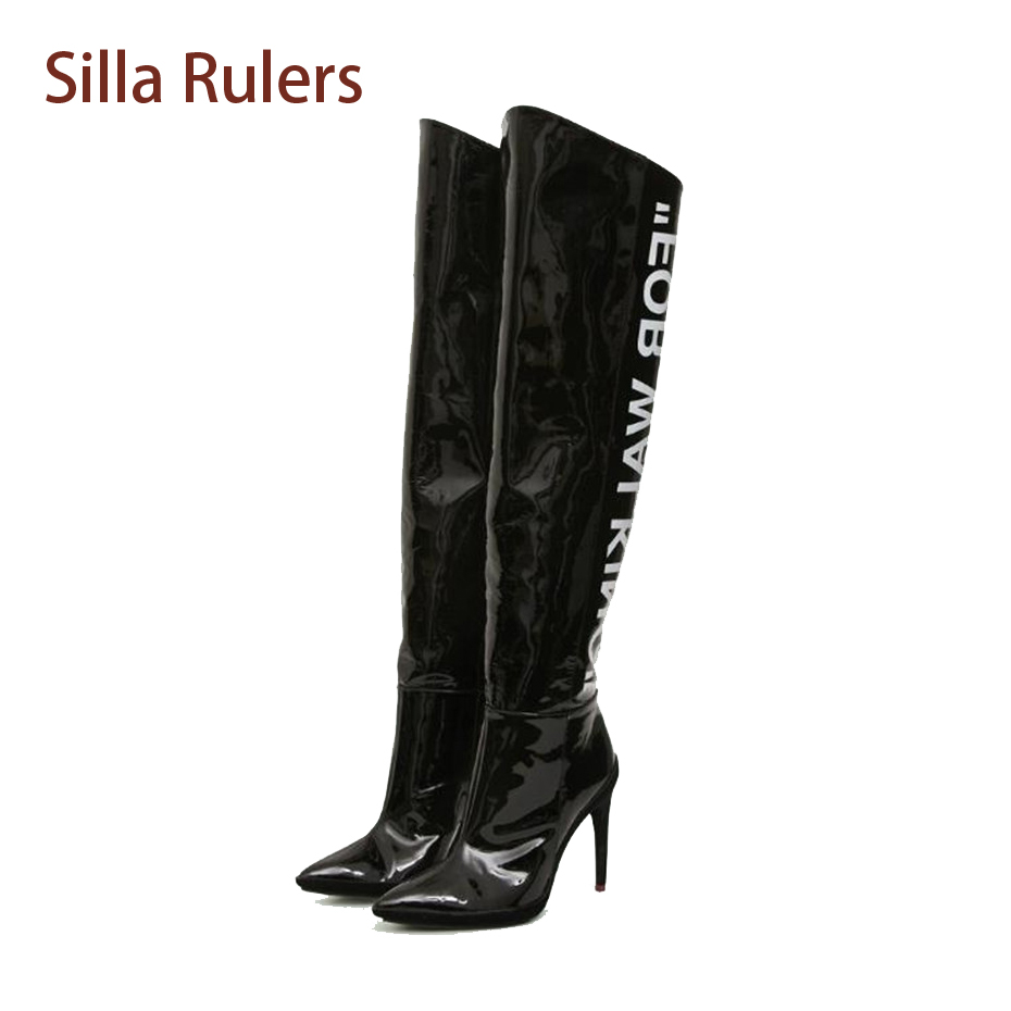 Silla Rulers Sexy Long Boots Shoes Pointed Toe Over-the-Knee Boots Female High Heels Thigh High Boots Black White Fashion Botas gladiator shoes denim thigh high boots women boots 2017 winter shoes over the knee fashion pointed toe thin heels mixed colors
