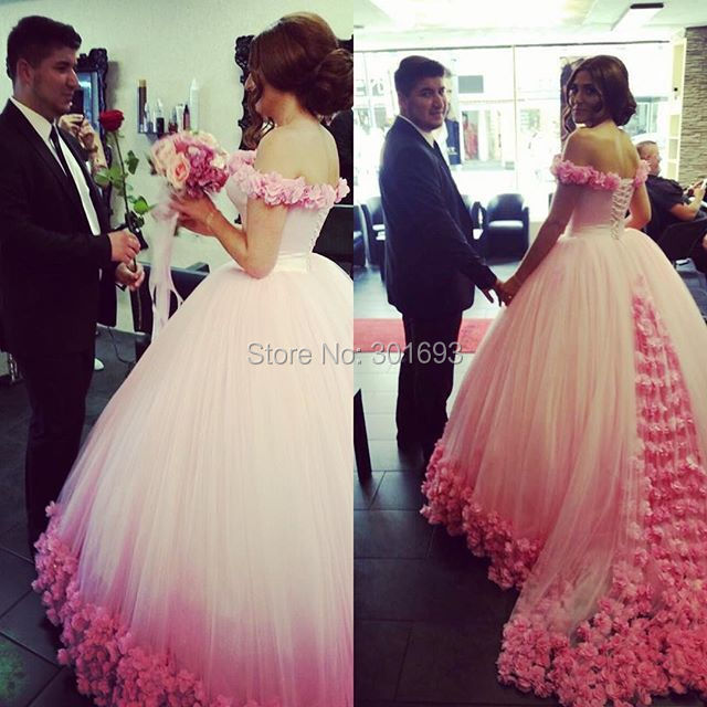 Oumeiya Ow611 New Arrival Off The Shoulder Ball Gown Rosettes Skirt Pink Wedding Dresses 2016