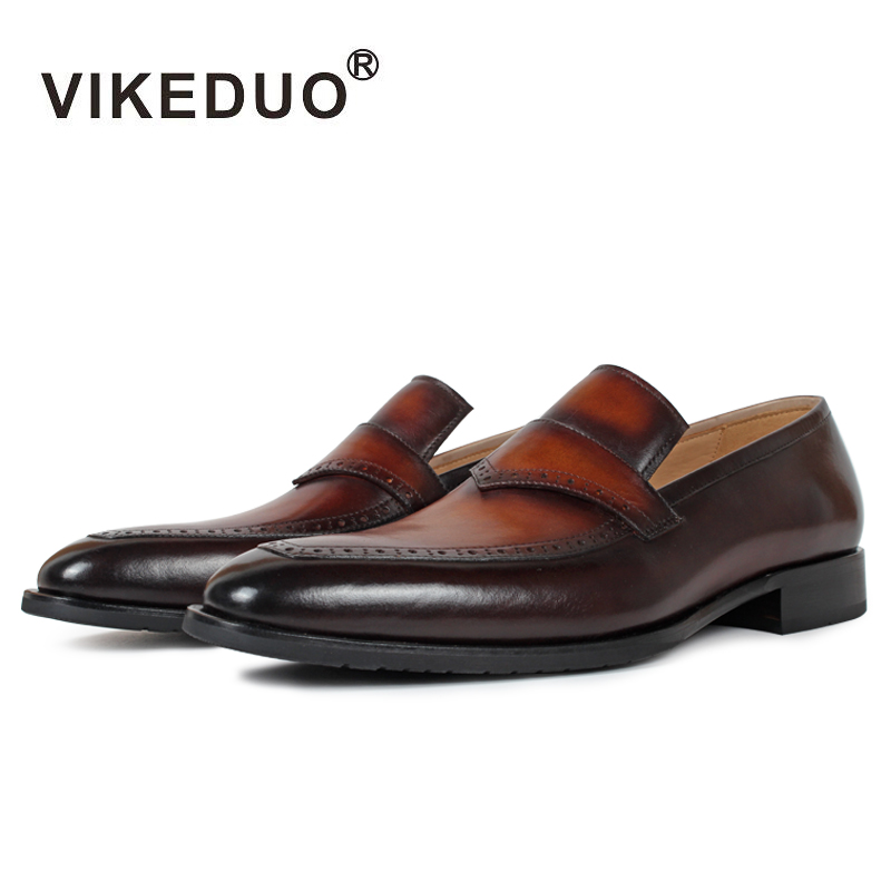 Superstar Vikeduo Handmade Men's Loafer Shoes Custom 100% Genuine Leather Fashion Casual Luxury Wedding Party Original Design 2018 vikeduo handmade hot men s loafer shoes 100% genuine leather fashion luxury causal party dress young man original design