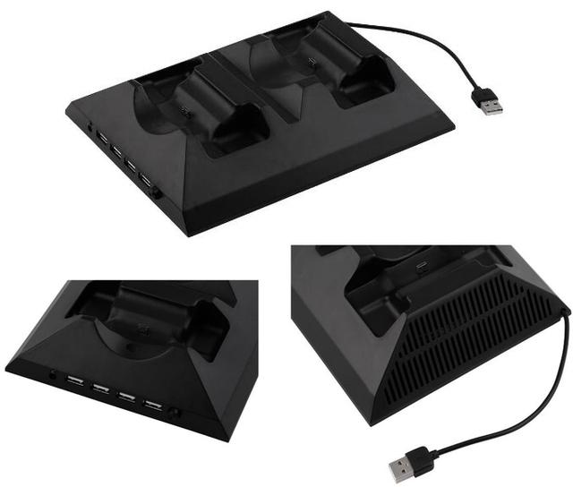 4-en-1 de múltiples funciones dual controlador de estación de carga con el ventilador de refrigeración refrigerador portátil externo para la consola xbox one y el controlador
