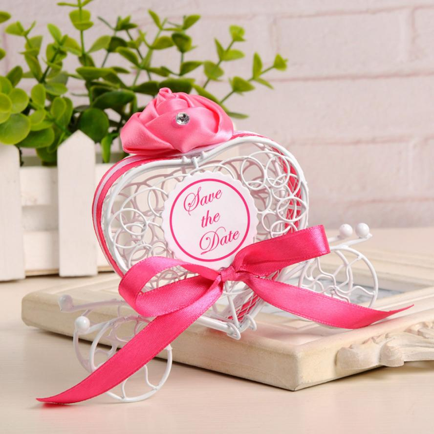 1pc Candy Boxes Romantic Carriage Sweets Chocolate Box Wedding Party Favors Display Earring Ring Ear Studs Necklace Box
