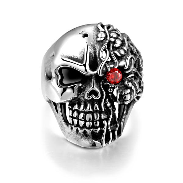 925 sterling silver rings men womens skull Single red crystal eye skull ring vintage rings bague femme anillos mujer YR193