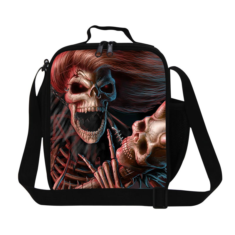 Cool Skull 3D Print Insulated Kids Lunch Bag Skeleton Lancheira Lunch Box Students PicnicThermal Bag Bolsa Termica Lancheira