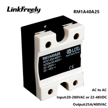 цена на RM1A40A25 25A Motor Soft Starter AC AC Solid State Relay,Output:42-440VAC Input: 20-280VAC/22-48V DC,SMD SSR Relay Board Switch