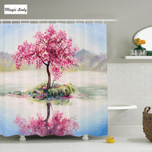 Shower Curtain Cherry Blossom Country Decor Collection Blooming Japanese  Tree Sakura On The Lake Polyester Fabric