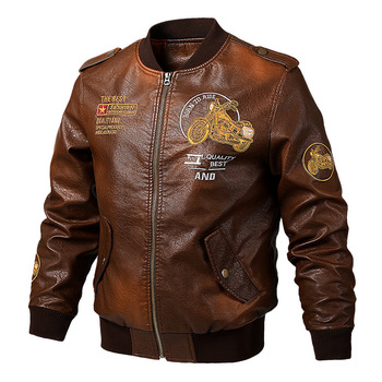 Men Leather Jacket Spring Fashion Embroidery Motorcycle Outerwear Coat Bomber Jackets Vintage PU Leather Jacket Coat Male 5XL men s pu leather jacket fashion fit biker motorcycle jacket bomber jackets and coat men m 4xl 4 zipper 2 prockets