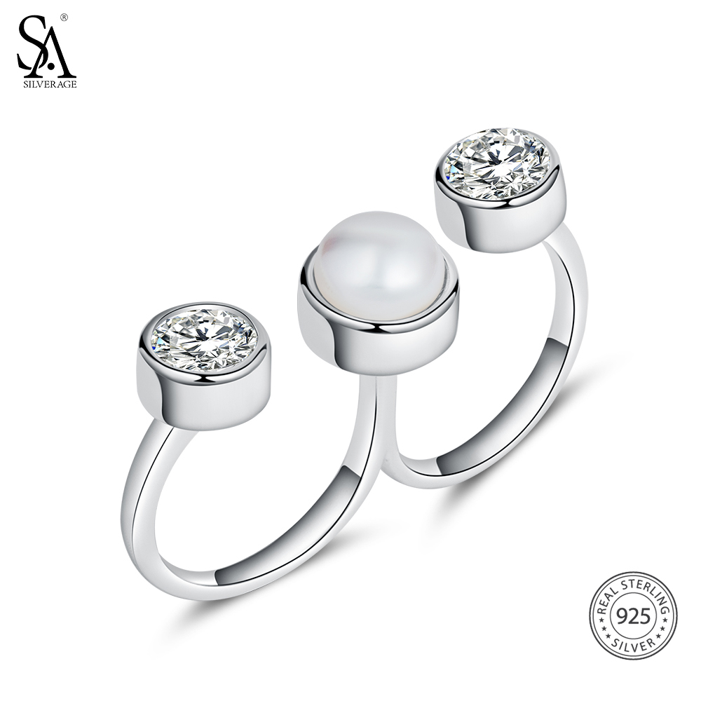 Image 5 - SA SILVERAGE 925 Sterling Silver Wedding Rings Sets for Women Fine Jewelry Round Freshwater Pearls Double Fingers Rings Womenset ringsset rings for womenset for women -