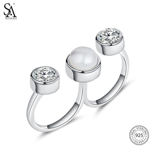 Image 5 - SA SILVERAGE 925 Sterling Silver Wedding Rings Sets for Women Fine Jewelry Round Freshwater Pearls Double Fingers Rings Women