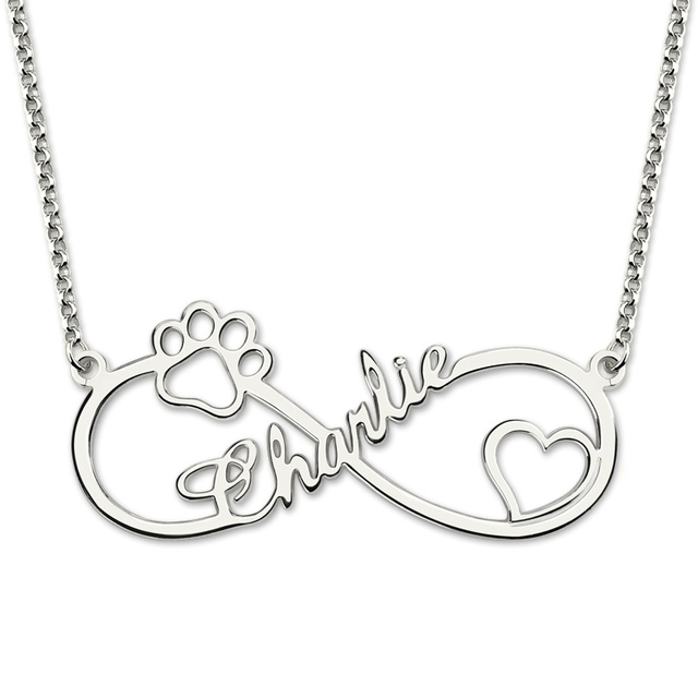 c17006312 AILIN Name Engraved Infinity Paw Print Name Necklace Sterling Silver Dog  Paw Necklace