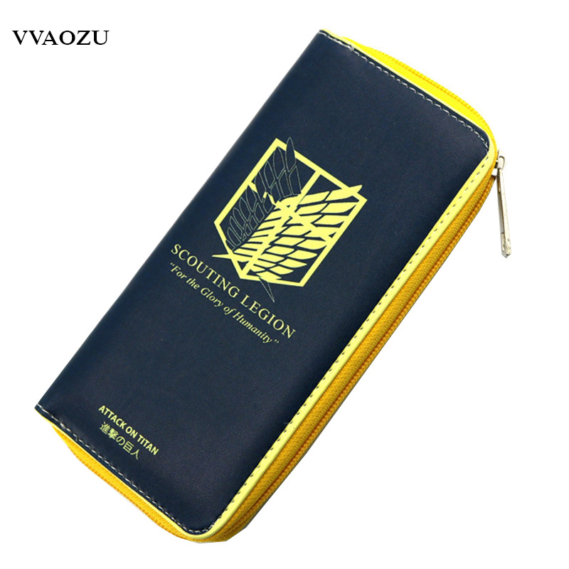 Casual Anime Attack on Titan Wallets Card Holder Men Women Purse Clutch Bag Leather Long Design Gift Carteira Masculina attack on titan rivaille ackerman eren jaeger printing wallets attack on titan wallets short anime purse p086