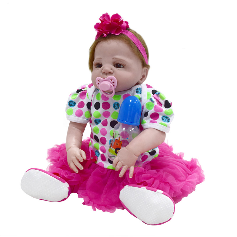 22 full silicone vinyl body reborn dolls baby reborn girl soft body best children sleeping boy gift toys brinquedos bonecas 22'' Full Body Silicone Toddler Dolls Lifelike Soft Vinyl Baby Girl Dolls Alive Reborn Baby Dolls Newborn Toys for Children Gift