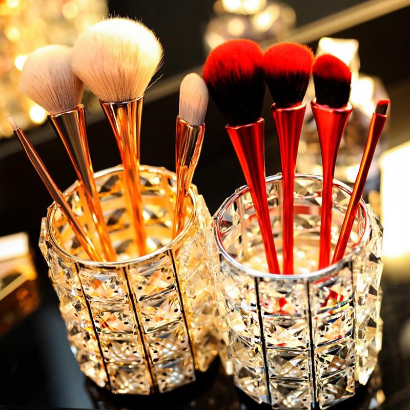 ONEUP Europe Crystal Metal Makeup Brush Storage Tube Eyebrow Pencil Makeup Organizer Bead Crystal Jewelry Storage Box