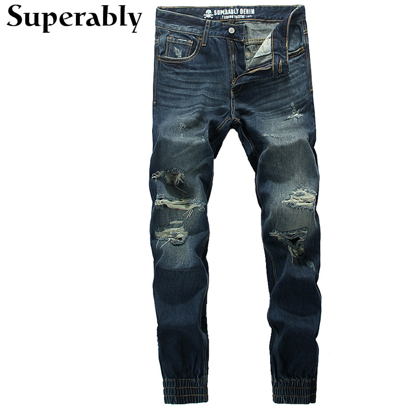 ФОТО European American High Street Casual Jogger Jeans Top Quality Destroyed Ripped Jeans Mens Pants Dark Blue Denim Stripe Jeans