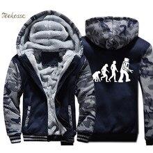 The Big Bang Theory Jacket Men Funny Robot Evolution Hooded Sweatshirt Print Coat Winter Thick Fleece Warm Camouflage Hoodie 4XL