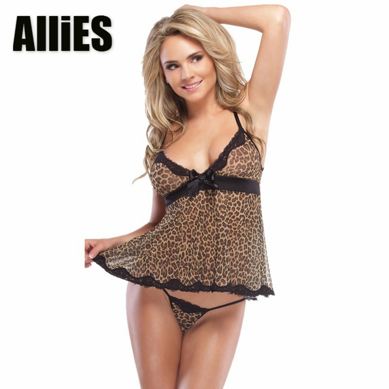 4578443b3a1 Detail Feedback Questions about Women Sexy Leopard Sleep Dress With G  string Mesh V Neck Bralette Lingerie Baby Doll Perspective Night T shirt  Nightwear on ...