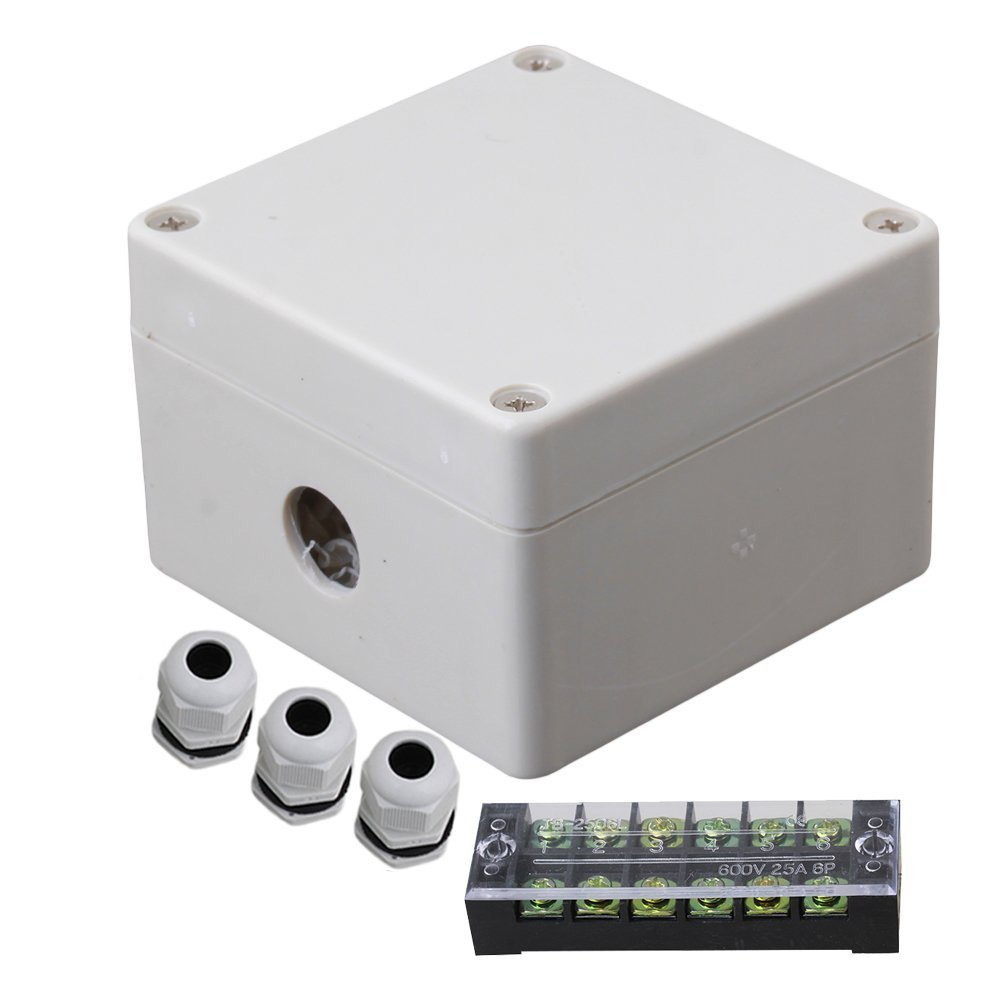 83x81x56mm Gray White Plastic Waterproof Electrical Junction Box 6 Position 1 In 2 Out Terminals Enclosure Case with 3 PG9 Conne 1 piece free shipping powder coating aluminium junction housing box for waterproof router case 81 h x126 w x196 l mm